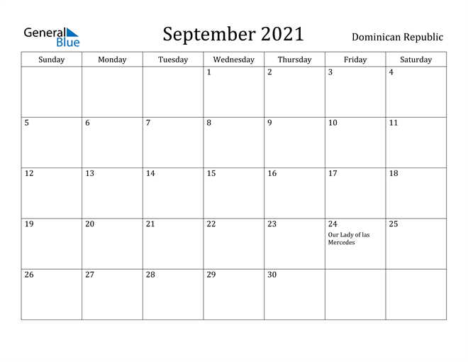 Image of September 2021 Dominican Republic Calendar with Holidays Calendar