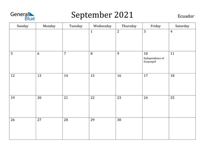 Image of September 2021 Ecuador Calendar with Holidays Calendar