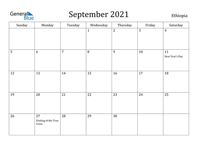 Image of September 2021 Ethiopia Calendar with Holidays Calendar