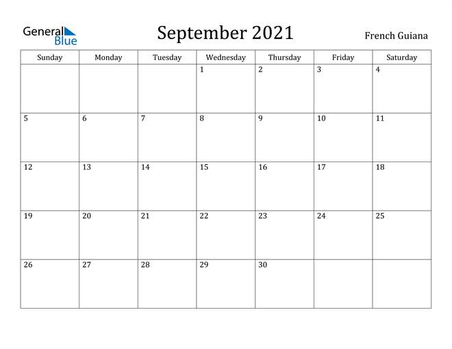Image of September 2021 French Guiana Calendar with Holidays Calendar