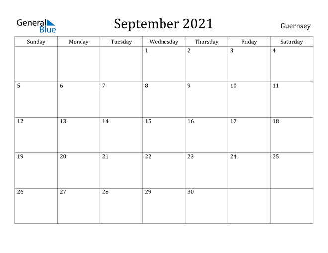 Image of September 2021 Guernsey Calendar with Holidays Calendar