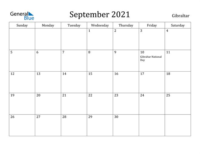 Image of September 2021 Gibraltar Calendar with Holidays Calendar