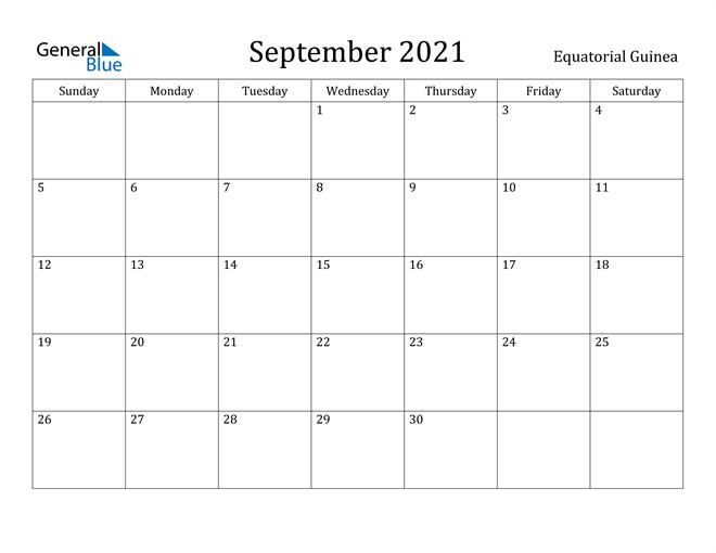 September 2021 Calendar Equatorial Guinea