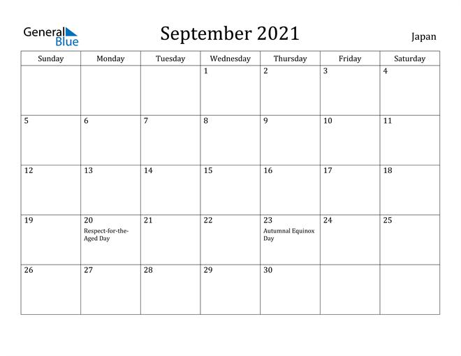 September 2021 Calendar Japan