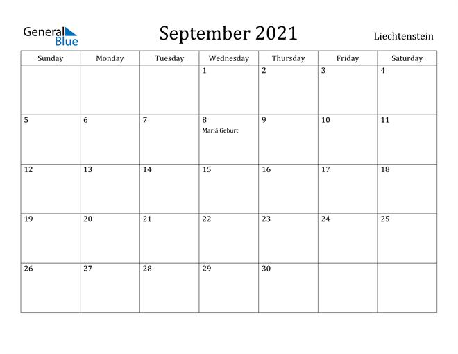 Image of September 2021 Liechtenstein Calendar with Holidays Calendar
