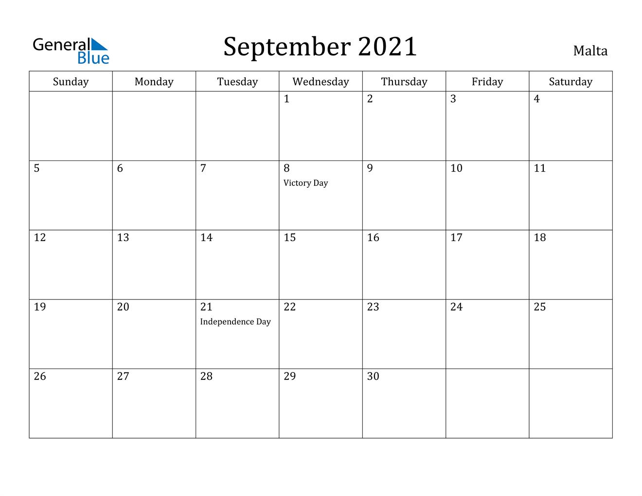 September 2021 Calendar - Malta