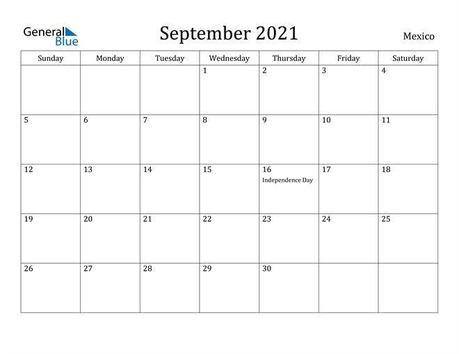 Image of September 2021 Mexico Calendar with Holidays Calendar