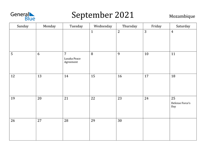 Image of September 2021 Mozambique Calendar with Holidays Calendar