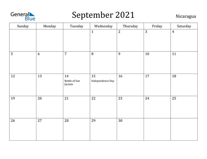 Image of September 2021 Nicaragua Calendar with Holidays Calendar