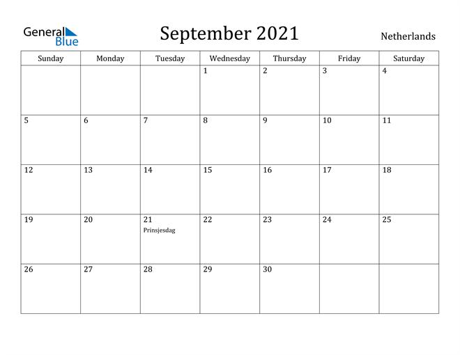 Image of September 2021 Netherlands Calendar with Holidays Calendar