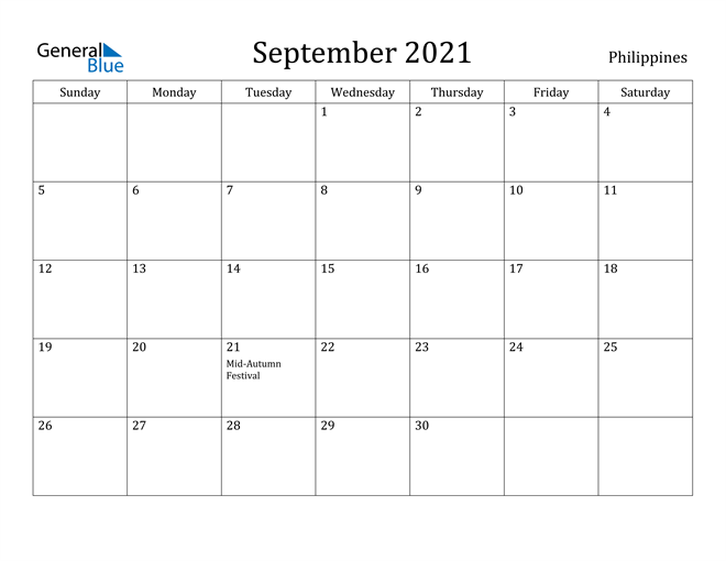 Image of September 2021 Philippines Calendar with Holidays Calendar