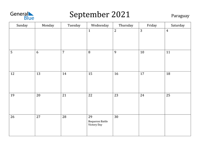 Image of September 2021 Paraguay Calendar with Holidays Calendar