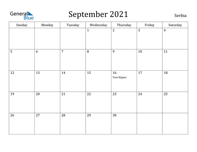 Image of September 2021 Serbia Calendar with Holidays Calendar