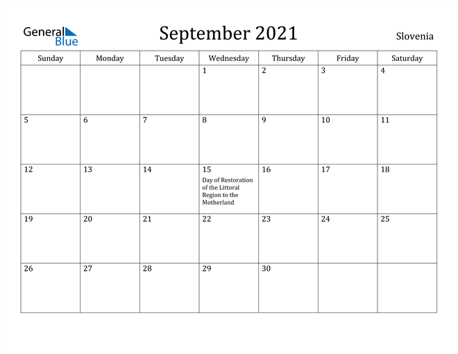 Image of September 2021 Slovenia Calendar with Holidays Calendar