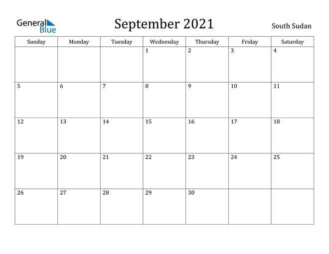 Image of September 2021 South Sudan Calendar with Holidays Calendar