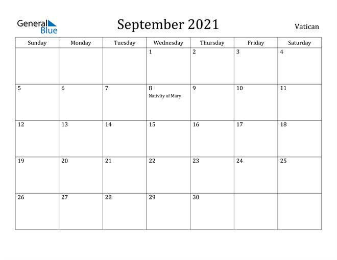 September 2021 Calendar Vatican