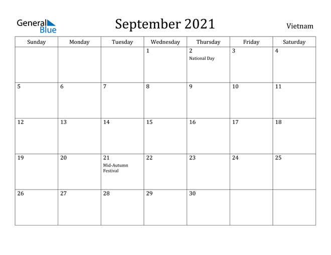 Image of September 2021 Vietnam Calendar with Holidays Calendar