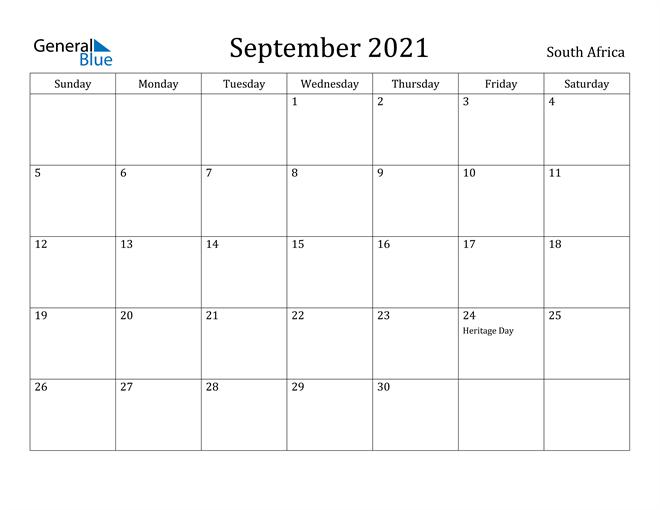 Image of September 2021 South Africa Calendar with Holidays Calendar