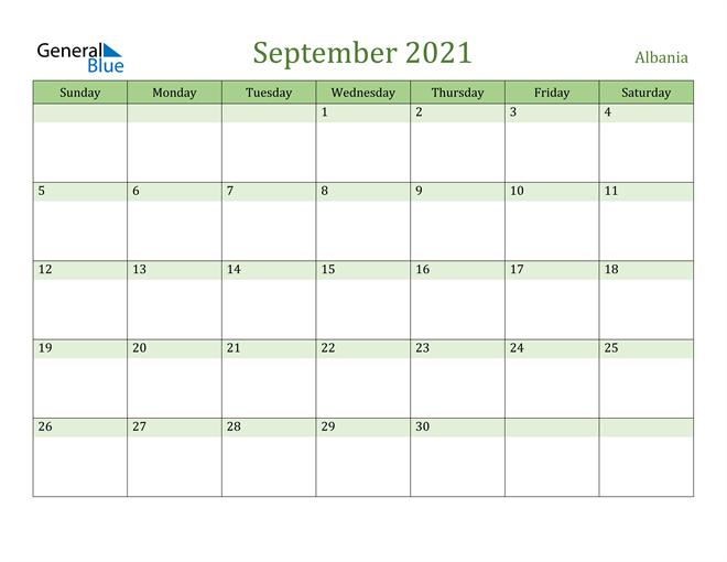 September 2021 Calendar with Albania Holidays