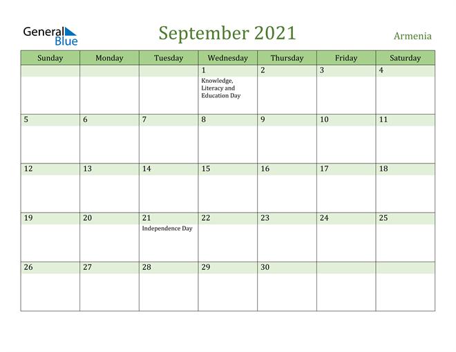 September 2021 Calendar with Armenia Holidays