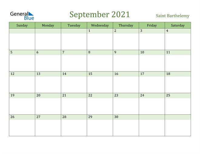September 2021 Calendar with Saint Barthelemy Holidays