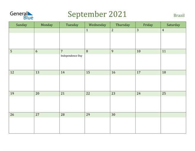 September 2021 Calendar with Brazil Holidays