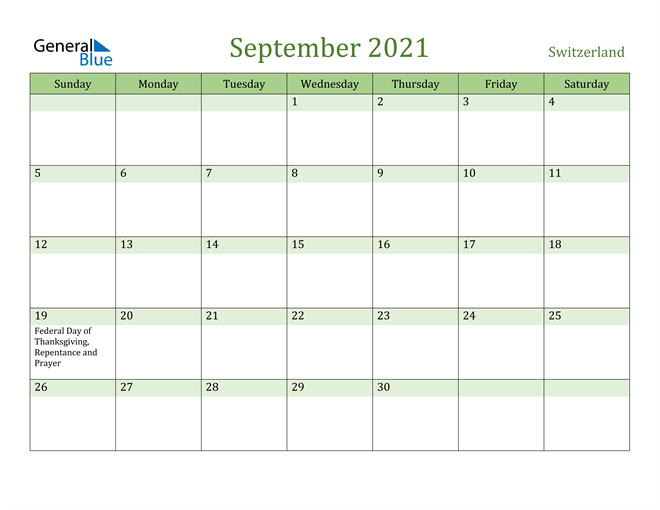September 2021 Calendar with Switzerland Holidays