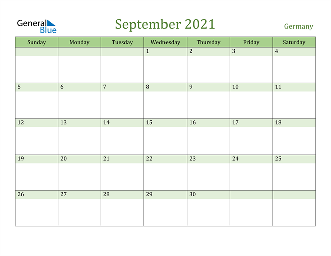 September 2021 Calendar with Germany Holidays