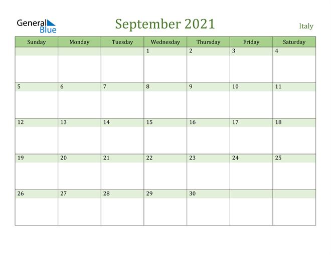 September 2021 Calendar with Italy Holidays