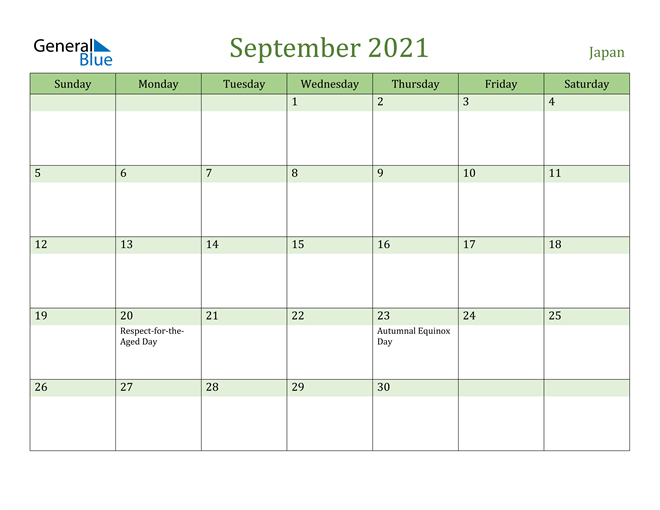 September 2021 Calendar with Japan Holidays