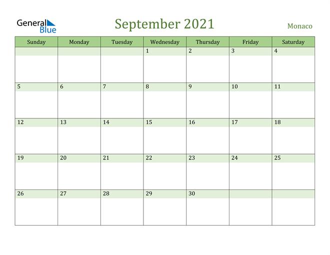 September 2021 Calendar with Monaco Holidays