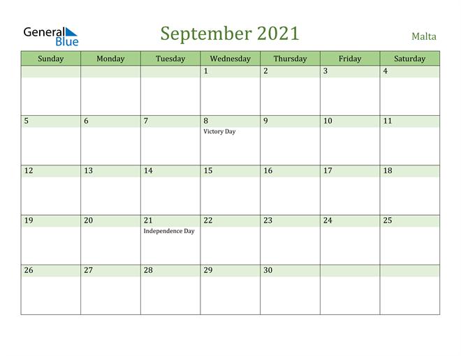 September 2021 Calendar with Malta Holidays