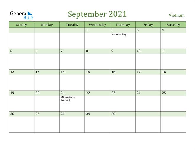 September 2021 Calendar with Vietnam Holidays