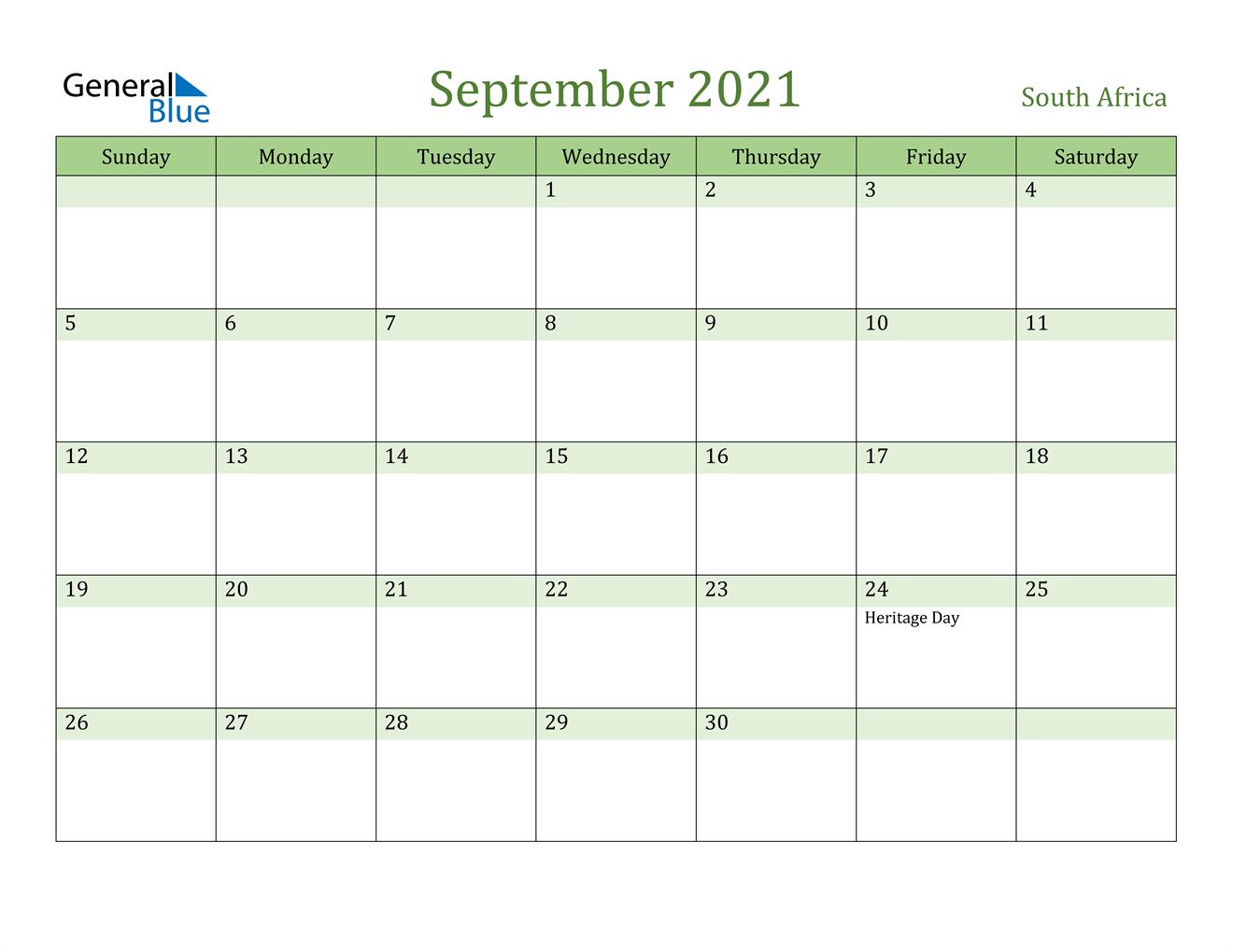 September 2021 Calendar - South Africa