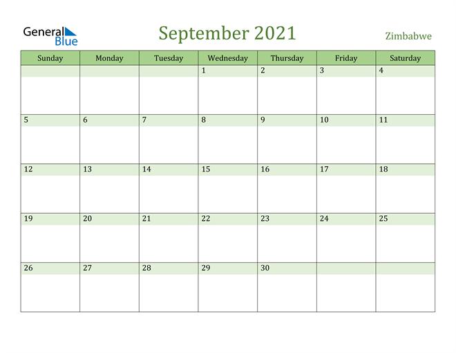Image of September 2021 Cool and Relaxing Green Calendar Calendar
