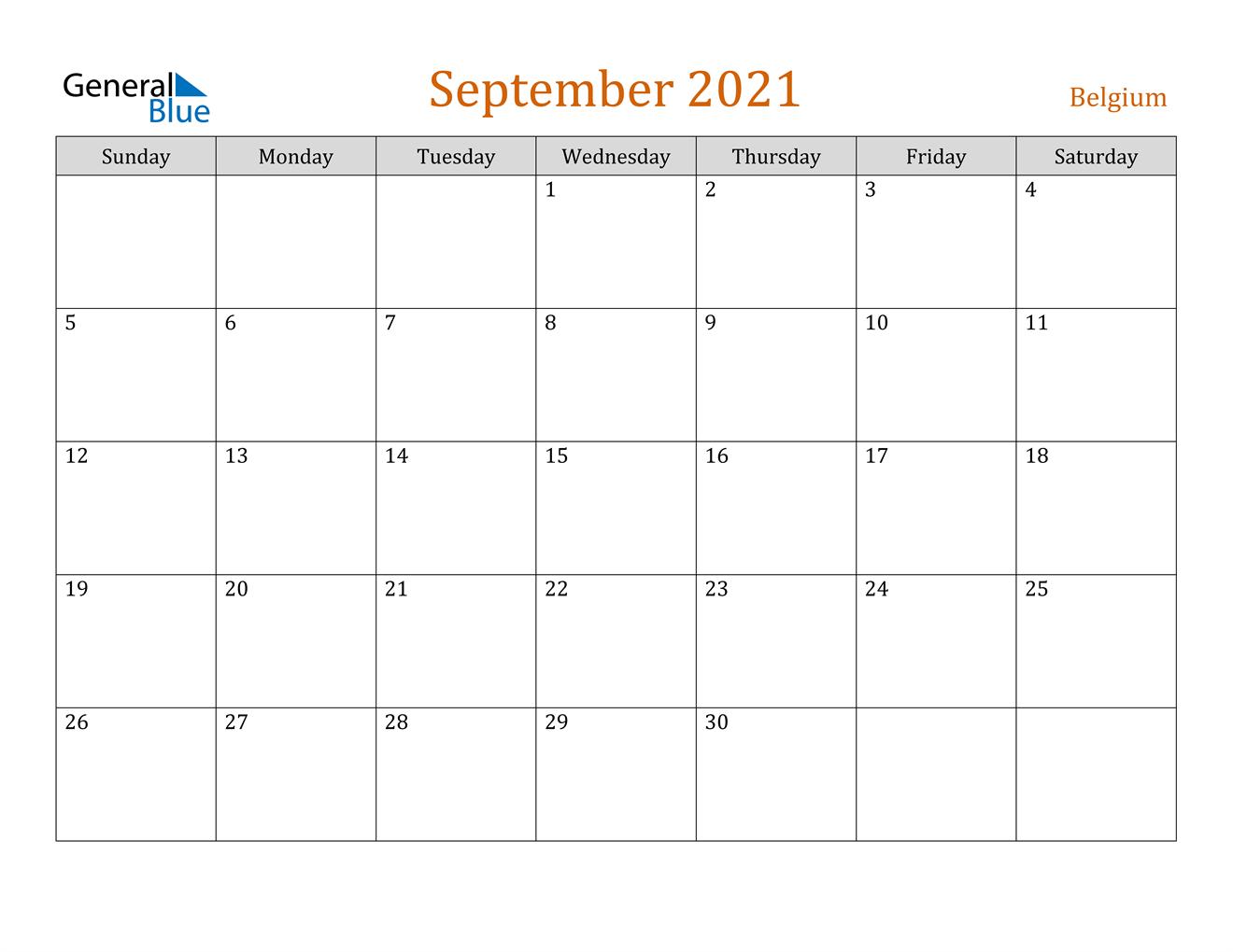 September 2021 Calendar - Belgium