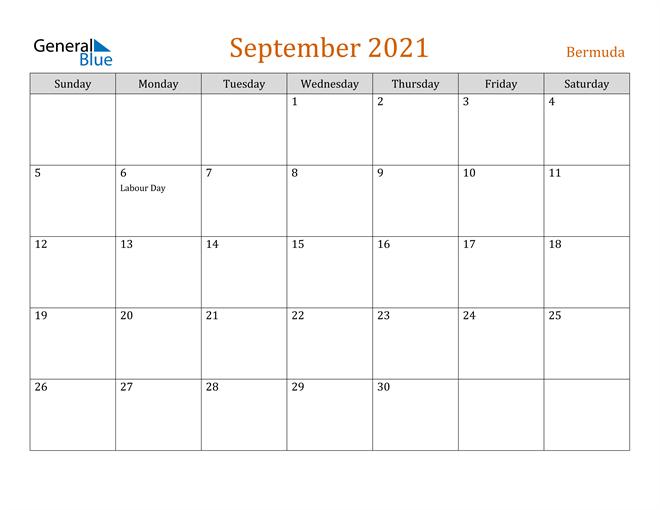 Image of September 2021 Contemporary Orange PDF, Word and Excel Calendar Calendar