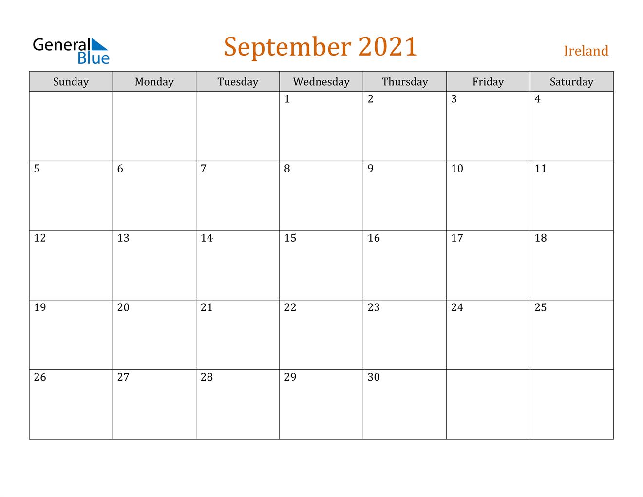 September 2021 Calendar - Ireland