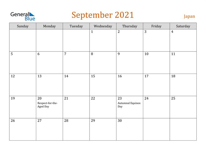 September 2021 Holiday Calendar