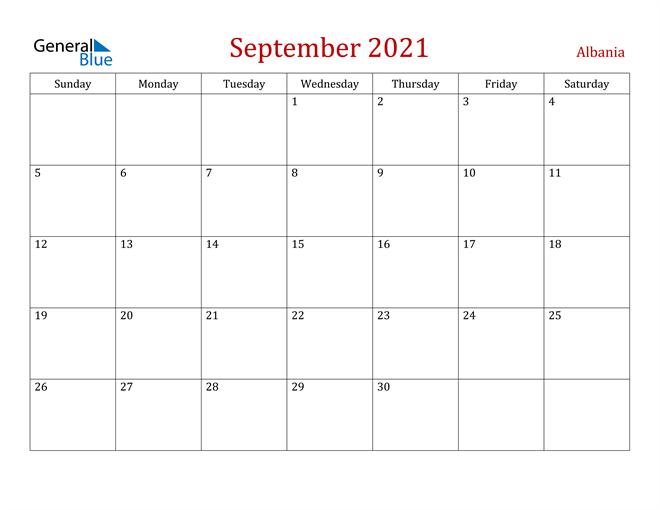 Albania September 2021 Calendar