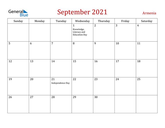 Armenia September 2021 Calendar