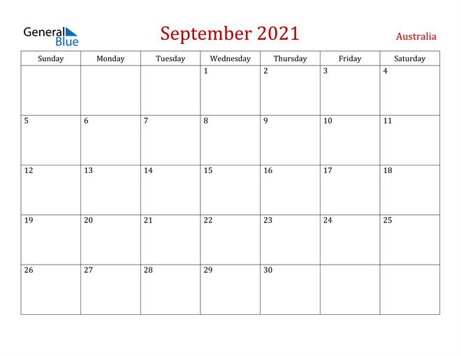 Australia September 2021 Calendar