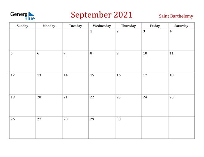 Saint Barthelemy September 2021 Calendar