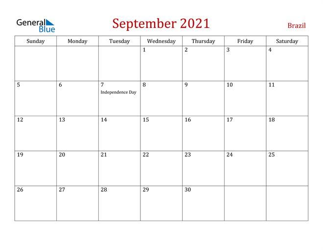 Brazil September 2021 Calendar