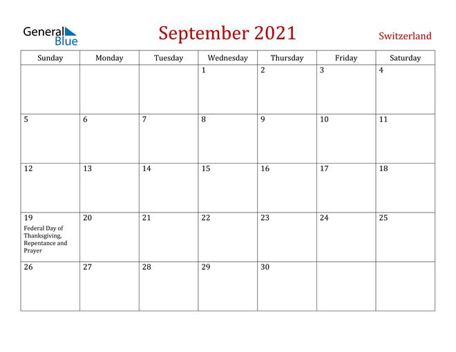 Switzerland September 2021 Calendar