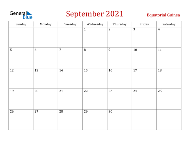 Equatorial Guinea September 2021 Calendar