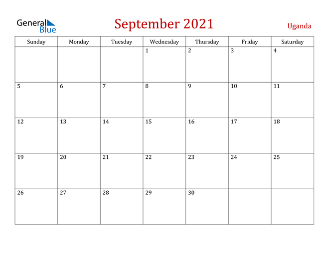 Uganda September 2021 Calendar