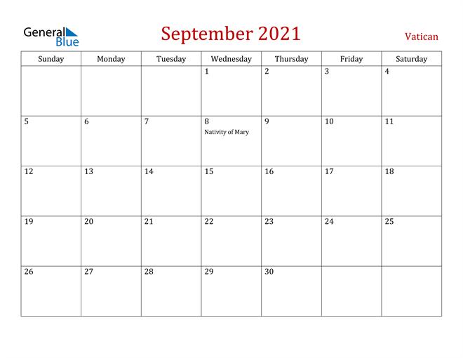 Vatican September 2021 Calendar