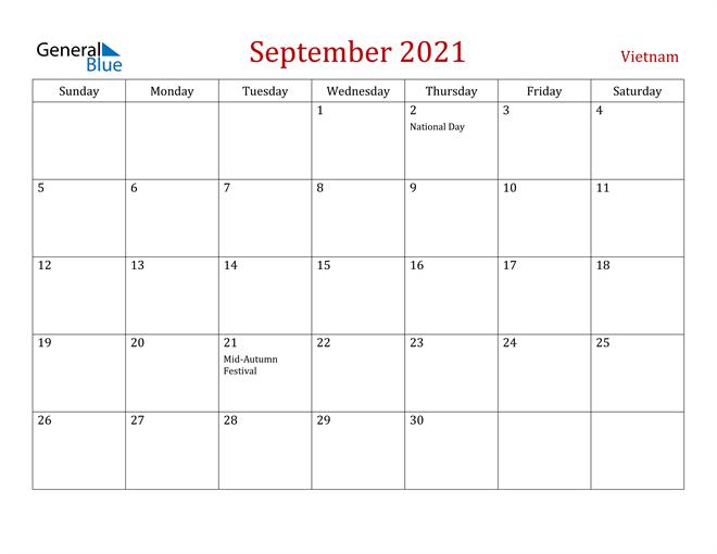 Vietnam September 2021 Calendar