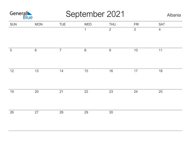Printable September 2021 Calendar for Albania